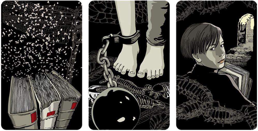 tranh minh họa trong Thư Viện Kỳ Lạ của họa sĩ Kat Menschik