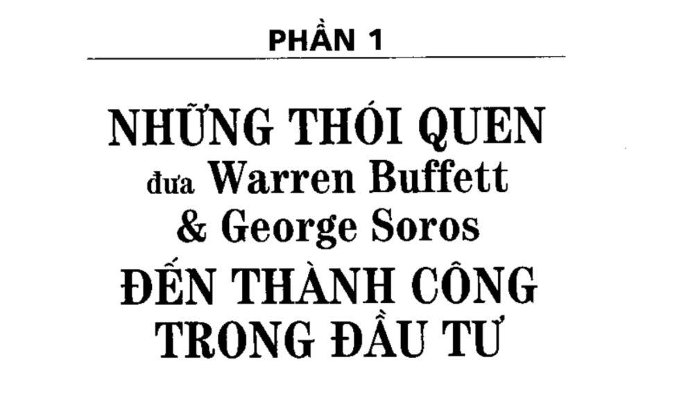 Trích đoạn phần 1 Bí Quyết Đầu Tư Và Kinh Doanh Chứng Khoán Của Tỷ Phú Warren Buffett Và George Soros - Mark Tier 1