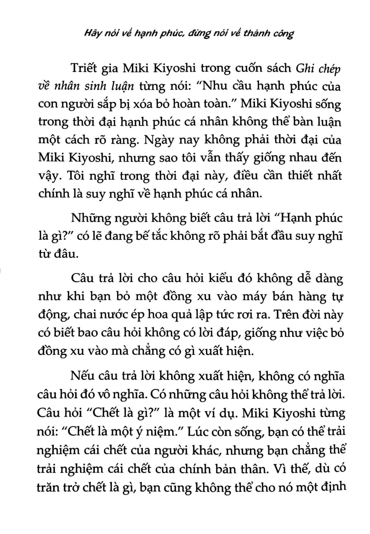 giờ chúng ta nói về hạnh phúc nhé 2 - Hãy Nói Về Hạnh Phúc, Đừng Nói Về Thành Công - Kishimi Ichiro